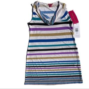 Sunny Leigh Rainbow Scooped Neck Striped Tunic
